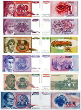 YUGOSLAVIA - Lotto 6 banconote 10/50/100/500/1000/5000 dinara FDS UNC