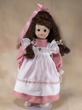 """German Porcelain Collector's Girl Doll 15.5"""" Brown Hair Brown Eyes With Box"""