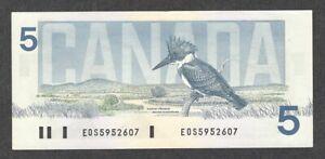1986 $5.00 BC-56a-i AU EPQ Beauty 1st Kingfisher BIRD Series Canada Five Dollars