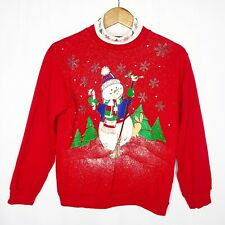 Vtg Nutcracker Turtleneck Sweatshirt Christmas Size XS Snowman Puffy Paint *Flaw