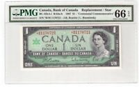 Canada $1 Dollar Banknote 1967 BC-45bA-i PMG GEM UNC 66 EPQ Replacement / Star
