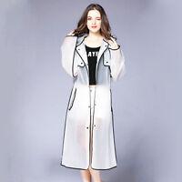 Women's Girl EVA Transparent Raincoat Light Rainwear Hooded Long Rain Coat New