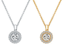 Gold Silver Plated CZ Crystal Gem Round Boho Statement Chain Pendant Necklace