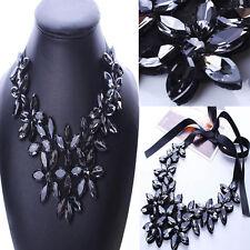 Crystal Flower Short Necklace Pendant Bib Statement Chunky Collar Ribbon Chain W