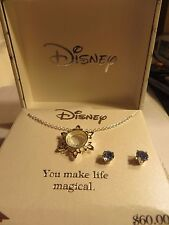 DisneyFrozen sterling blue and white crystal Elsa necklace and blue earrings New