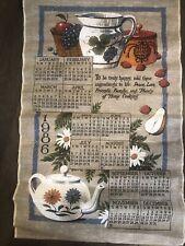 Vintage 1986 Linen Fabric Tea Towel Wall Calendar Tea Pot Home Cooking