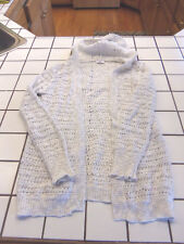 GIRLSJUSTICE IVORY CROCHET LONG HOODED CARDIGAN  WITH SILVER SPARKLE SIZE 16 EC