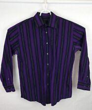 J. Ferrar XL Mens Button Up Shirt Purple black Striped Long Sleeve