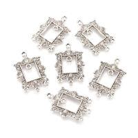 10pcs Antique Silver Alloy Chandelier Components Links Rectangle 32.5~33 x21mm