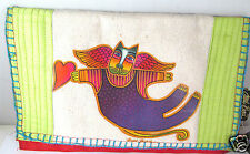 Laurel Burch Raw Silk Linen Flying Angel Cat Soft Fold Over Wallet Lime Grn New