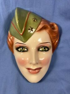 VINTAGE PRETTY LADY  WAC. WOMENS ARMY CORPS CLAY ART HANGING FACE MASK