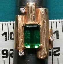 14K Yellow Gold Ring Large Emerald cut Green Stone 3 Diamonds Custom Made  #2083