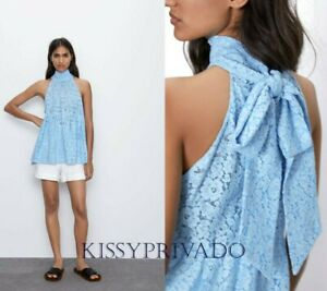 ZARA Light Blue Guipure Lace Halter Neck Long Tunic Top with Bow at Back M BNWT