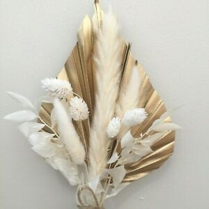 Bright Gold Palm Spear, Flowers, CAKE TOPPER  Small Floral Arrangement S2