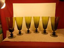 "Very Nice Set of 6 Green Swirl Crystal Pilsner/Flute Glasses 7 1/2"" x 3 1/4"""
