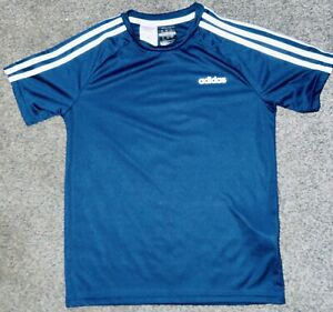 Adidas T Shirt Navy & White 3-Stripe Age 11-12 Years Short Sleeves