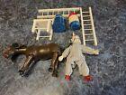 Vintage Schoenhut Wooden Jointed Delva Clown, Wooden Donkey & 5 Accessory Pieces