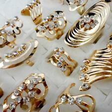 40pcs Gold Style Rhinestone Rings Alloy Wholesale Jewelry Lots New Free Shipping