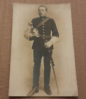 Real photo military postcard, full uniform with sword, unused.