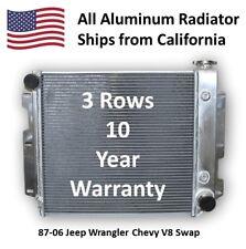 Chevy V8 Engine Swap 1987-2006 Jeep Wrangler TJ YJ Aluminum Radiator AT or MT