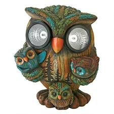 Momma Owl and Baby Owlets Family Solar Powered Eye Light Garden Yard Sculpture