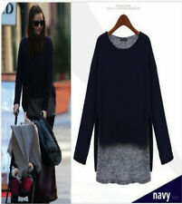Q01 Womens Stylish 2 in 1 Long Sleeve Crew Neck Quality Knitted Loose Jumper Top XL / 14-16 Navy