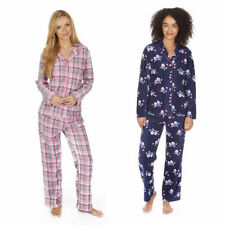 Ladies Pyjama Set Xmas Gift Womens Microfleece Owl Check Nightwear Sleepsuit