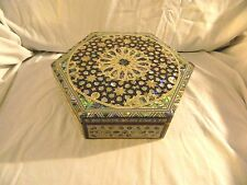 "Egyptian Inlaid Mother of Pearl Paua Jewelry Box 10"" #165 Unique Design"