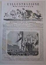 1866 RESTITUZIONE CORONA FERREA DUOMO MONZA xilografia Illustrazione Universale