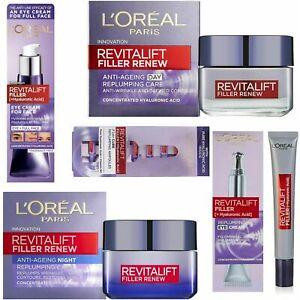 L'oreal Revitalift Filler+Hyaluronic Acid Day-Night- Eye Cream & Serum Brand New