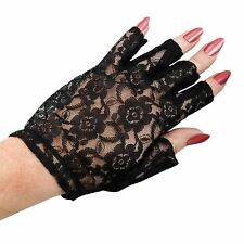 Short Fingerless Floral Lace Gloves Gothic Steampunk Victorian Costume Dress up