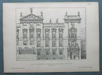AR90) 2x Architektur Prag CZ 1890 Clam Gallas Palast + Treppe Holzstich 28x39cm