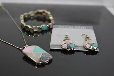 Mosaic Sterling Silver Bracelet, Earrings, Necklace Special Set CC8B-