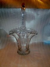"Etched Glass Crystal Basket with Butterfly Flowers 10"" Tall Bride's Bridal"