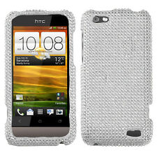 For Virgin Mobile HTC One V Crystal Diamond BLING Hard Case Phone Cover Silver