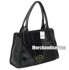 WOMEN'S FOSSIL VINTAGE RE-ISSUE BLACK LEATHER & ANIMAL HAIR SATCHEL SHOULDER BAG
