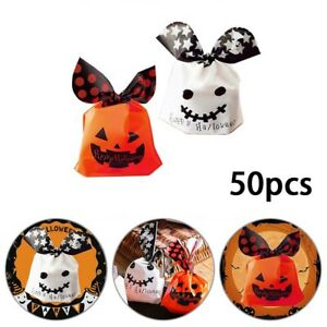 50X Halloween Ghost Candy Bag Halloween Gift Bag Candy Favour Cookies Packaging