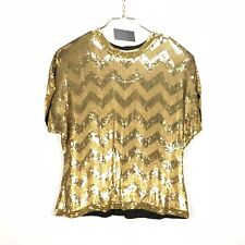 3b938549420 VTG Naeem Khan Riazee Womens 14 Gold Sequin Chevron Blouse Evening New  Years Top