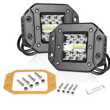 4inch 130W Flush Mount Triple Row LED Pods Work Light Bar 6000K Combo Beam SUV