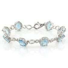 13 CT BABY SWISS BLUE TOPAZ & GENUINE DIAMOND 925 STERLING SILVER BRACELET