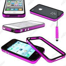 Housse Coque Etui Bumper Violet / Noir Apple iPhone 4S 4 + Mini Stylet