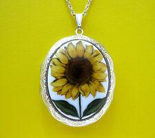 Porcelain Big YELLOW SUNFLOWER CAMEO Costume Jewelry ST Locket Pendant Necklace
