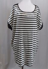 Lane Bryant Black White Striped Sequins Short Sleeve Top 22W 24W