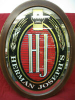 Vintage Herman Joseph's Beer Bar Mirror Sign with Wood Frame