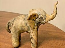 Handmade Vintage Marbled Clay Elephant Figure Sculpture Cream Gray & Brown 7""