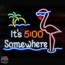 "It's 5 O'clock Somewhere Flamingo Beer Bar Neon Sign 20""X16"" From USA"