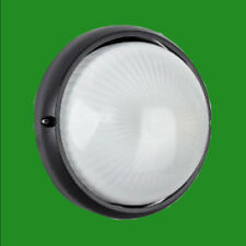 Black Round Circular Aluminium IP44 Bulkhead Outdoor Garden Security Wall Light