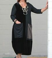 ALEMBIKA D418 Patch Pocket  EDITA DRESS  Balloon Panel 1 2 3 4 5 6  BLACK Velvet