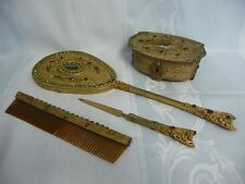 LOVELY VINTAGE FOUR PIECE JEWELED GILT FILIGREE VANITY SET