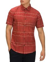 Hurley Mens Shirt Red Size Medium M Tailored Fit Vibes Geo Button Down $50 005